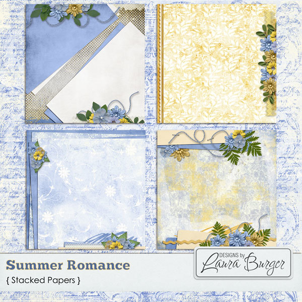 Summer Romance Stacked Papers Digital Art - Digital Scrapbooking Kits