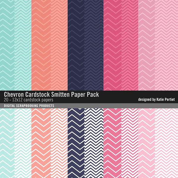 Chevron Cardstocks Smitten Paper Pack Digital Art - Digital Scrapbooking Kits