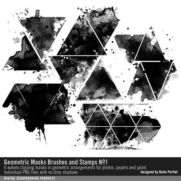 Geometric Masks Brushes and Stamps No. 01 Digital Art - Digital Scrapbooking Kits