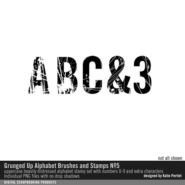 Grunged Up Alphabet No. 05 Digital Art - Digital Scrapbooking Kits