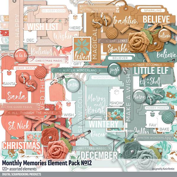 Monthly Memories Element Pack No. 12 Digital Art - Digital Scrapbooking Kits
