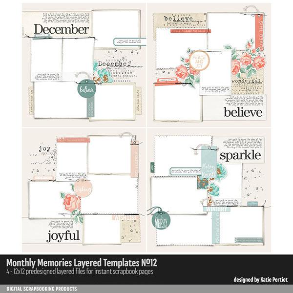 Monthly Memories Layered Template Pack No. 12 Digital Art - Digital Scrapbooking Kits