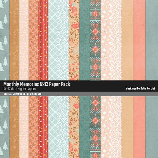 Monthly Memories Paper Pack No. 12 Digital Art - Digital Scrapbooking Kits