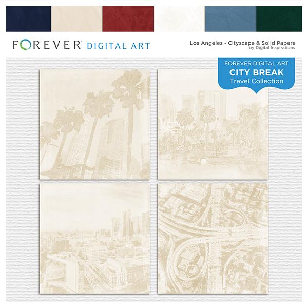 City Break - Los Angeles -  Cityscape & Solid Papers Digital Art - Digital Scrapbooking Kits