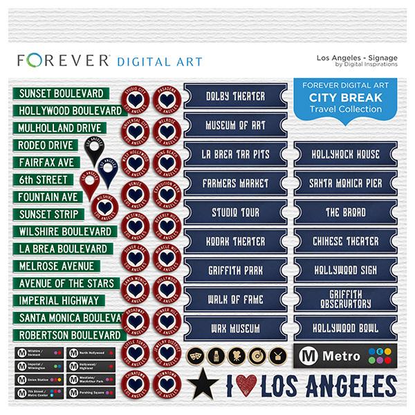 City Break - Los Angeles -  Signage Digital Art - Digital Scrapbooking Kits