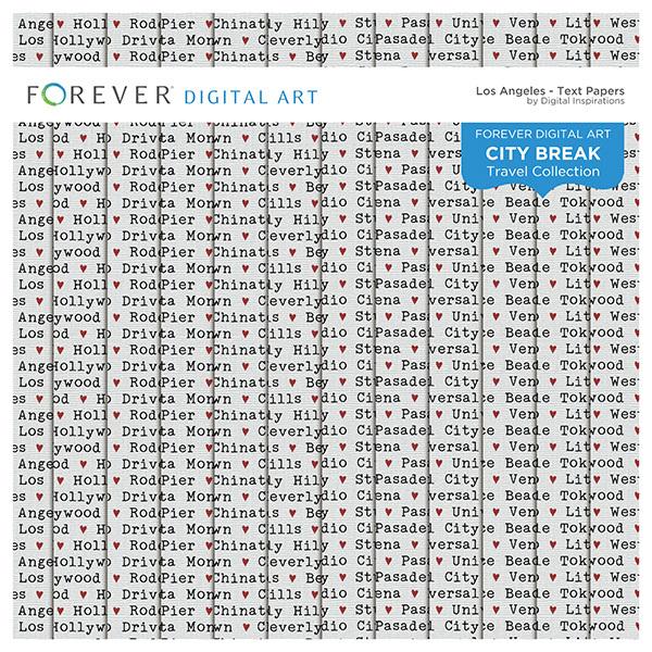 City Break - Los Angeles -  Text Papers Digital Art - Digital Scrapbooking Kits