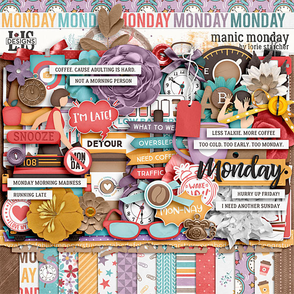 Manic Monday Digital Art - Digital Scrapbooking Kits