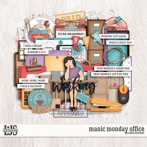Manic Monday Office Digital Art - Digital Scrapbooking Kits