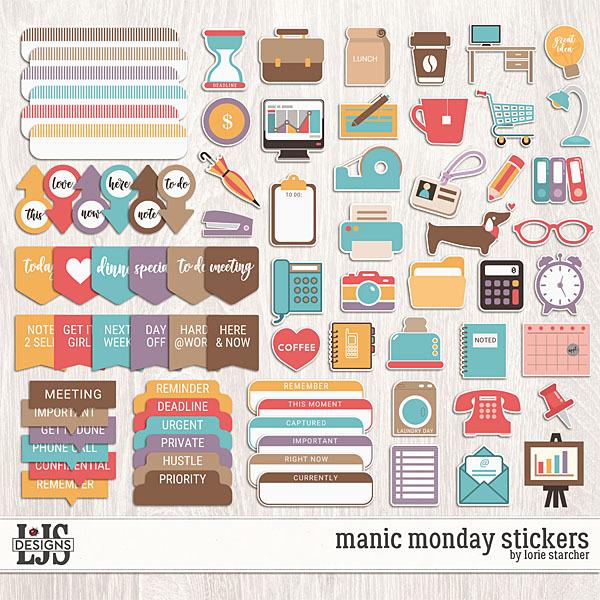 Manic Monday Stickers Digital Art - Digital Scrapbooking Kits