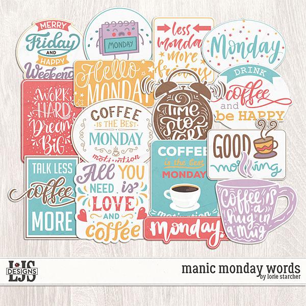 Manic Monday Words Digital Art - Digital Scrapbooking Kits