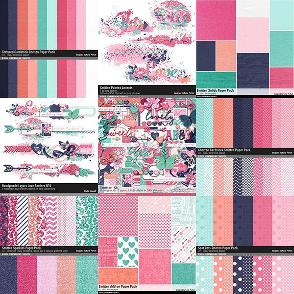 Smitten Scrapbooking Bundle Digital Art - Digital Scrapbooking Kits