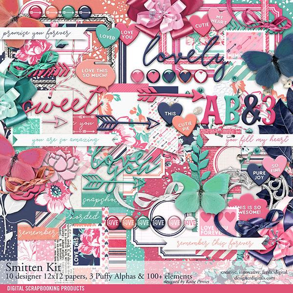 Smitten Scrapbook Kit Digital Art - Digital Scrapbooking Kits