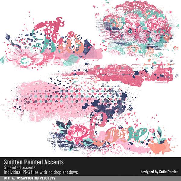 Smitten Painted Accents Digital Art - Digital Scrapbooking Kits