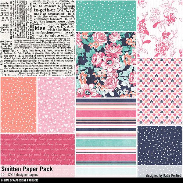 Smitten Paper Pack Digital Art - Digital Scrapbooking Kits