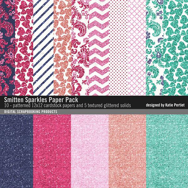 Smitten Sparkles Paper Pack Digital Art - Digital Scrapbooking Kits