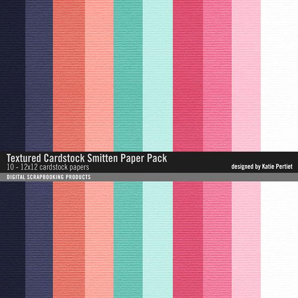Textured Cardstocks Smitten Paper Pack Digital Art - Digital Scrapbooking Kits