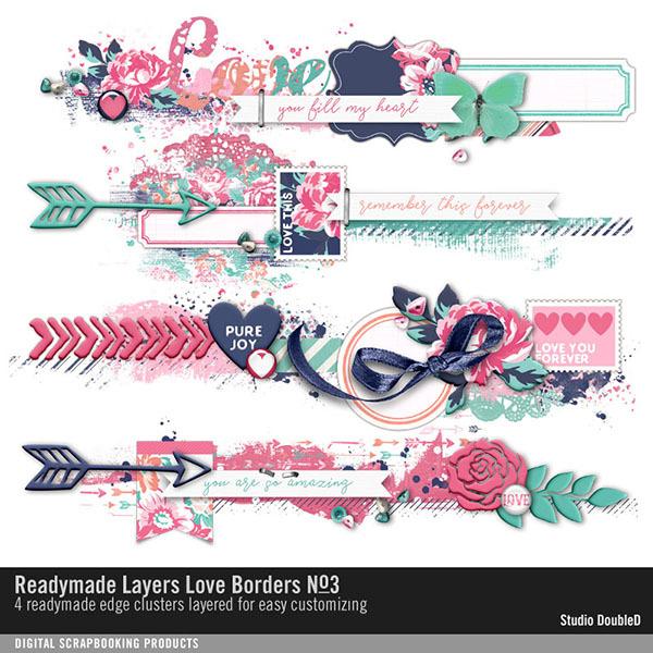 Readymade Layers Love Borders No. 03 Digital Art - Digital Scrapbooking Kits