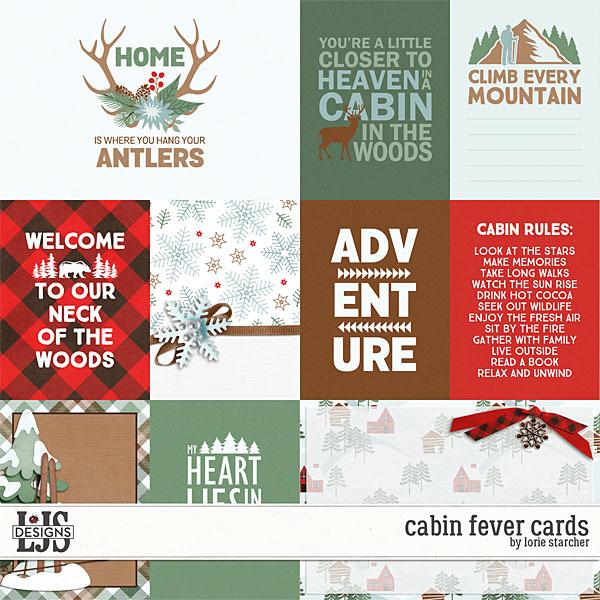 Cabin Fever Cards Digital Art - Digital Scrapbooking Kits