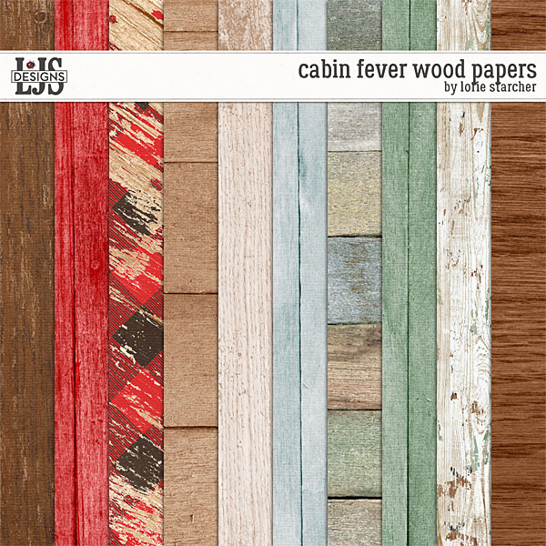 Cabin Fever Wood Papers Digital Art - Digital Scrapbooking Kits