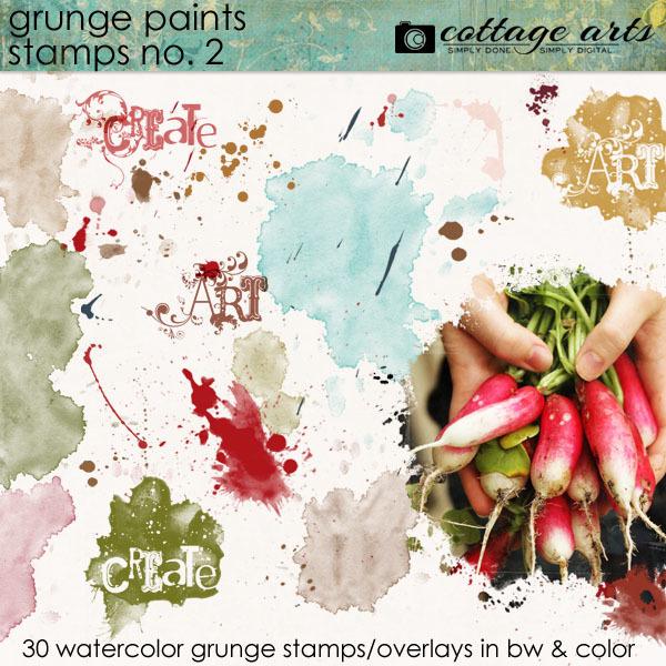 Grunge Paints 2 Stamps Digital Art - Digital Scrapbooking Kits