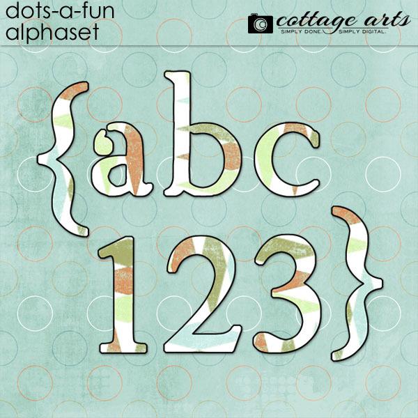 Dots-a-Fun AlphaSet Digital Art - Digital Scrapbooking Kits