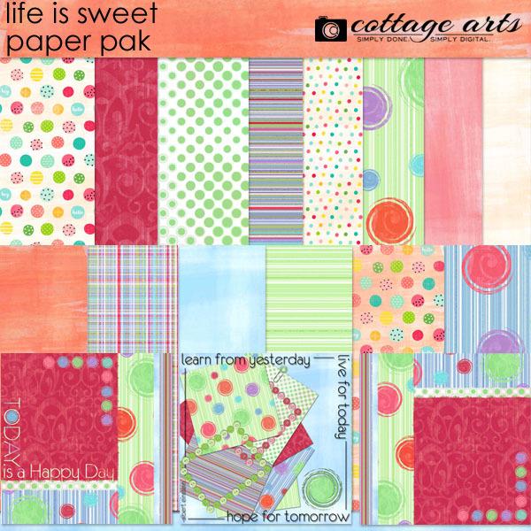 Life is Sweet Paper Pak Digital Art - Digital Scrapbooking Kits