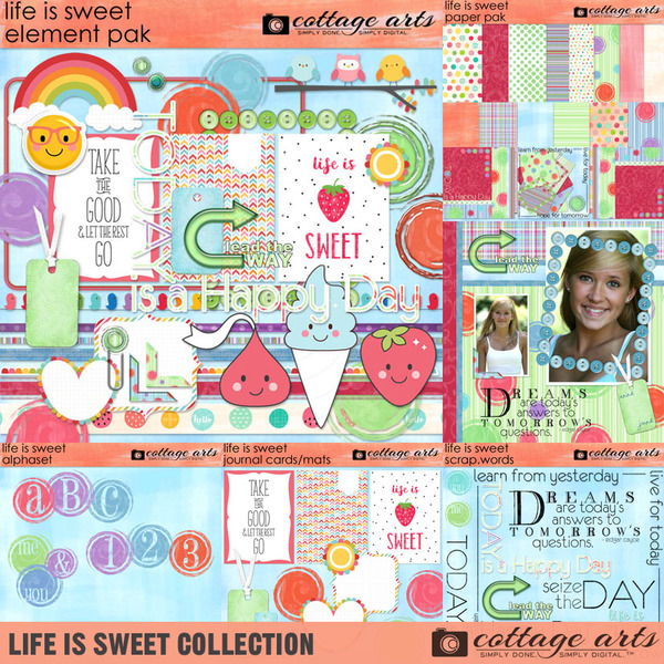 Life is Sweet Collection Digital Art - Digital Scrapbooking Kits
