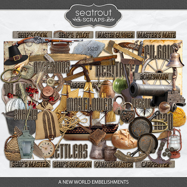 A New World Embellishments Digital Art - Digital Scrapbooking Kits