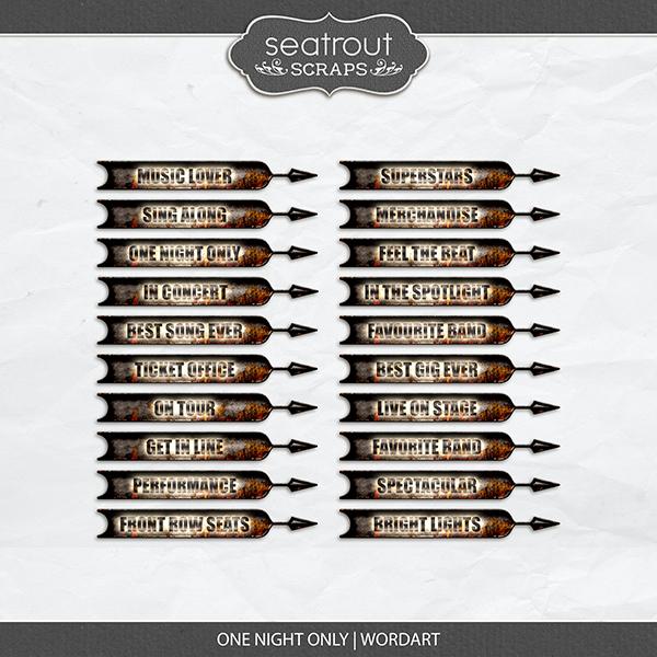 One Night Only Wordart Digital Art - Digital Scrapbooking Kits