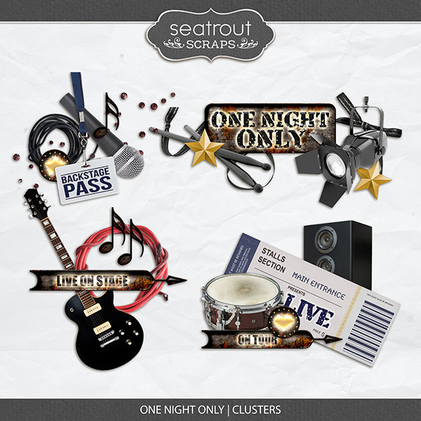 One Night Only Clusters Digital Art - Digital Scrapbooking Kits