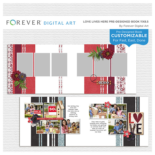 Love Lives Here Pre-designed Book 11x8.5 Digital Art - Digital Scrapbooking Kits