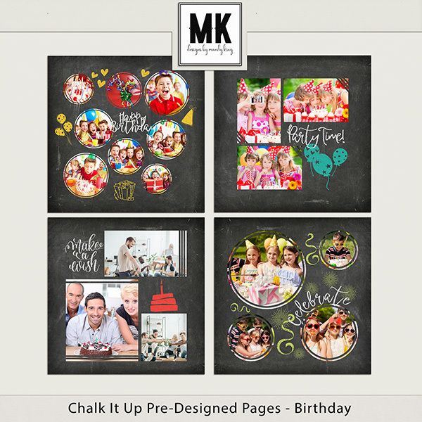 Chalk It Up Pre-Designed Pages - Birthday Digital Art - Digital Scrapbooking Kits