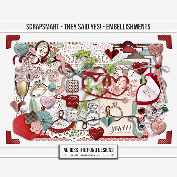 ScrapSmart - They Said Yes! - Embellishments Digital Art - Digital Scrapbooking Kits