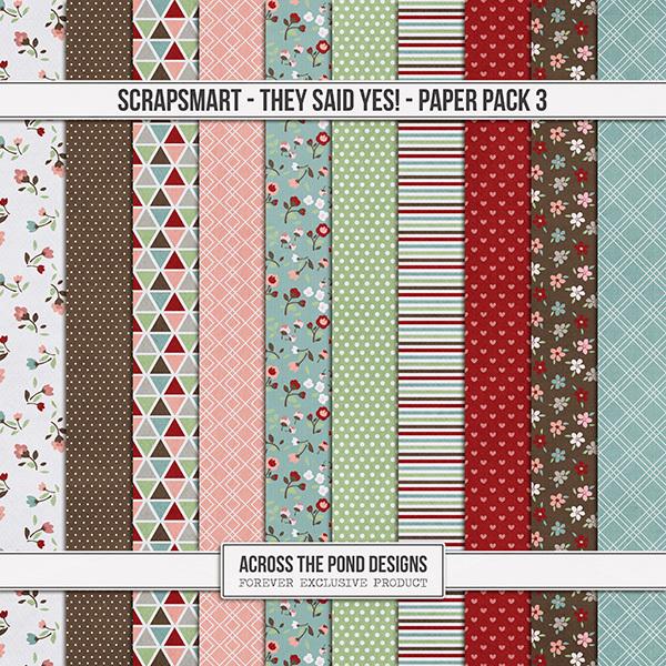 ScrapSmart - They Said Yes! - Paper Pack 3 Digital Art - Digital Scrapbooking Kits