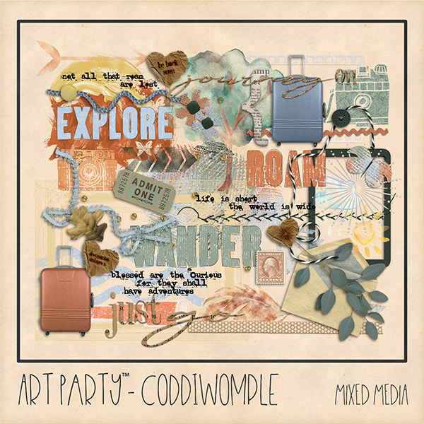 Coddiwomple Mixed Media Embellishments Digital Art - Digital Scrapbooking Kits
