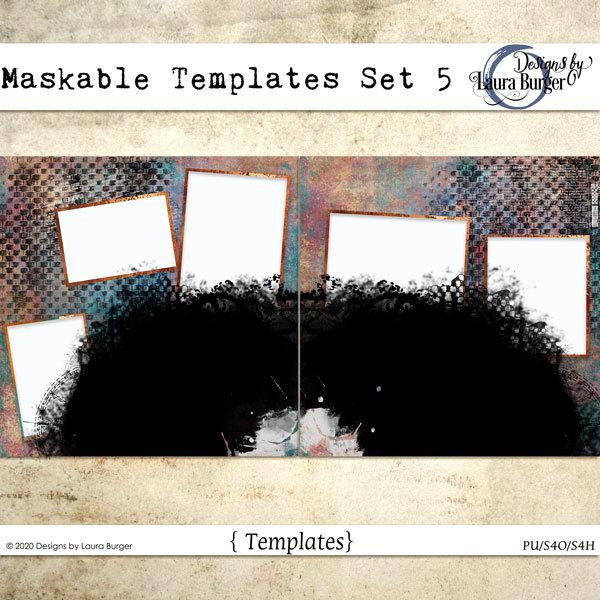 Maskable Templates Set 5 Digital Art - Digital Scrapbooking Kits