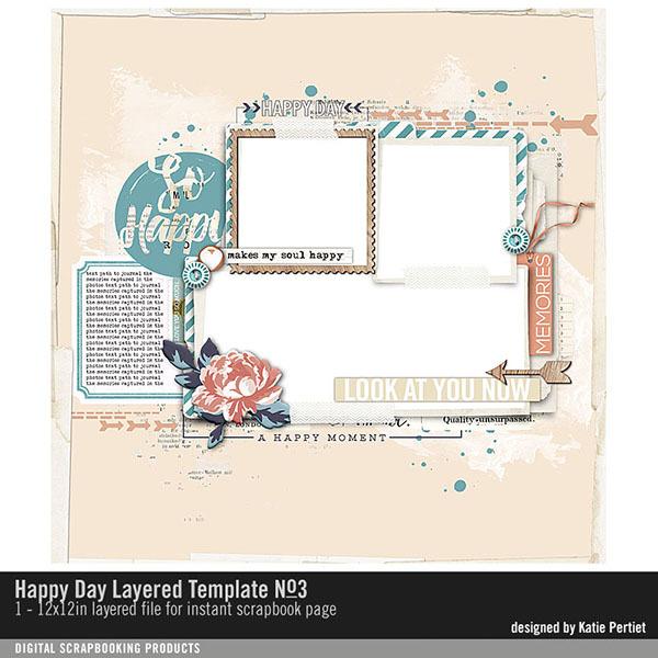 Happy Day Layered Template No. 03 Digital Art - Digital Scrapbooking Kits