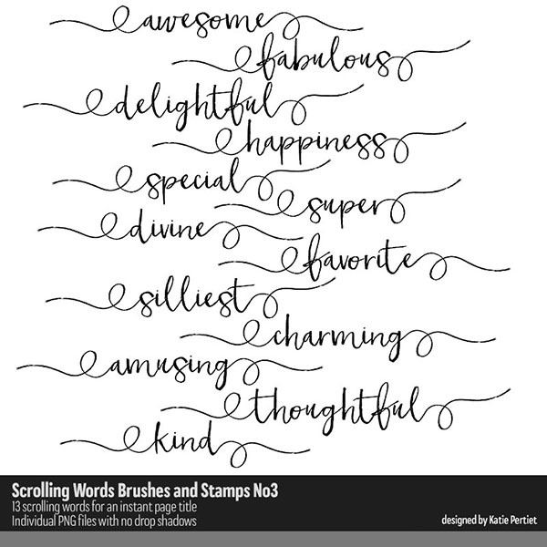 Scrolling Words Brushes and Stamps No. 03 Digital Art - Digital Scrapbooking Kits