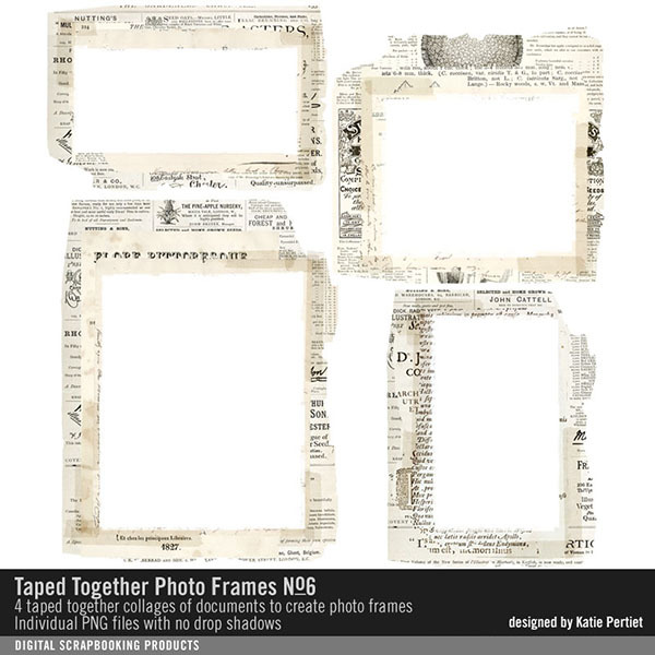 Taped Together Photo Frames No. 06 Digital Art - Digital Scrapbooking Kits