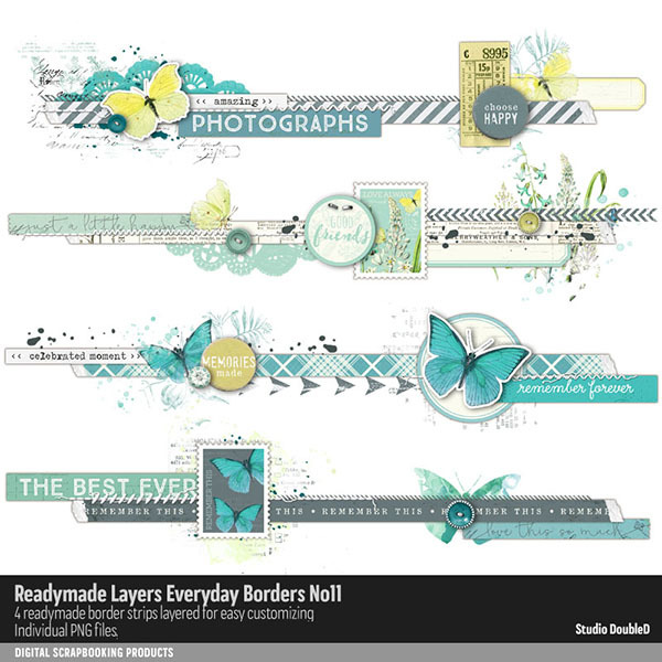 Readymade Layers Everyday Borders No. 11 Digital Art - Digital Scrapbooking Kits