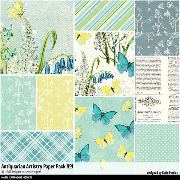 Antiquarian Artistry Paper Pack No. 01 Digital Art - Digital Scrapbooking Kits