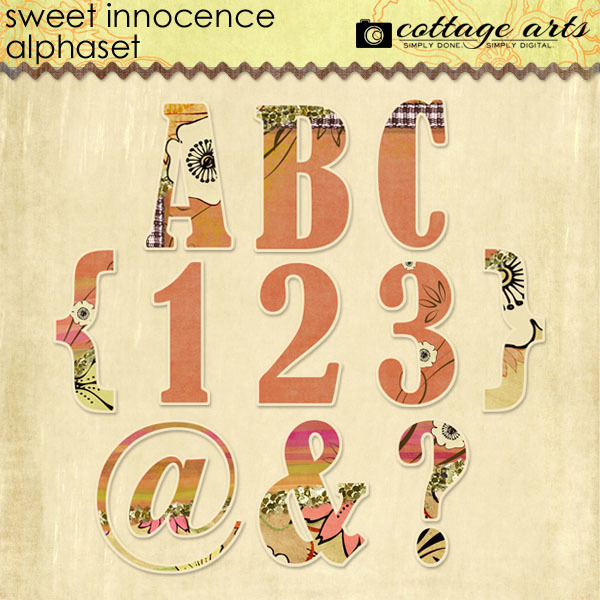 Sweet Innocence AlphaSet Digital Art - Digital Scrapbooking Kits