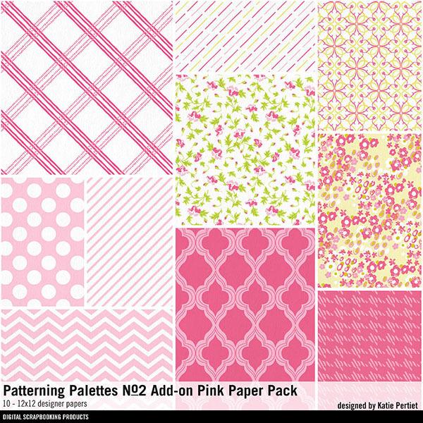 Patterning Palettes No. 02 Add-On Pink Paper Pack Digital Art - Digital Scrapbooking Kits
