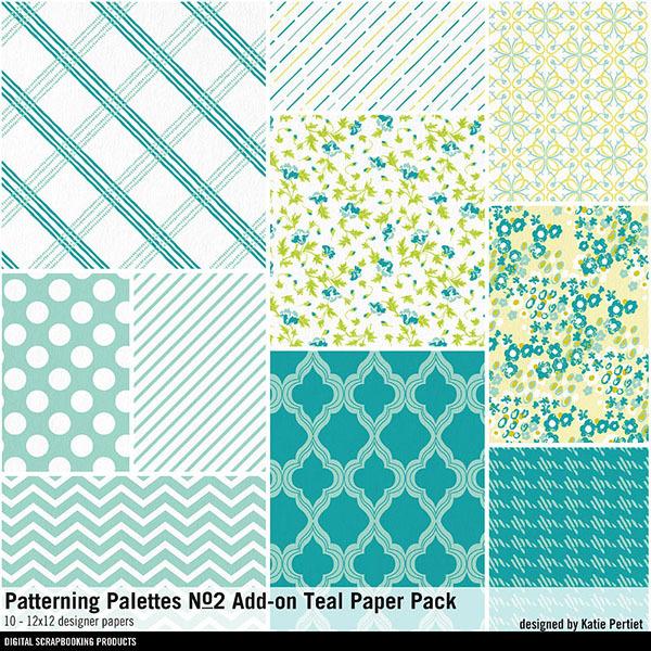 Patterning Palettes No. 02 Add-On Teal Paper Pack Digital Art - Digital Scrapbooking Kits