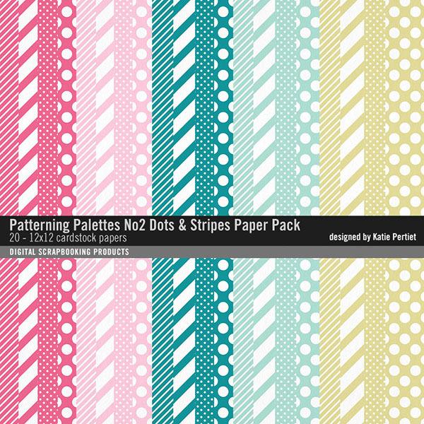 Patterning Palettes No. 02 Dots and Stripes Paper Pack Digital Art - Digital Scrapbooking Kits