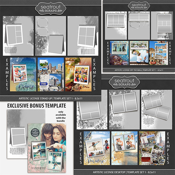 Artistic License Memento Bonus Bundle 8.5x11 Digital Art - Digital Scrapbooking Kits