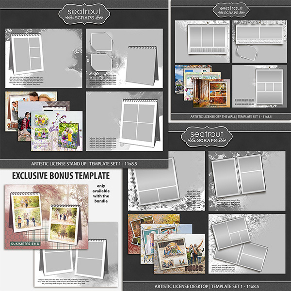 Artistic License Memento Bonus Bundle 11x8.5 Digital Art - Digital Scrapbooking Kits