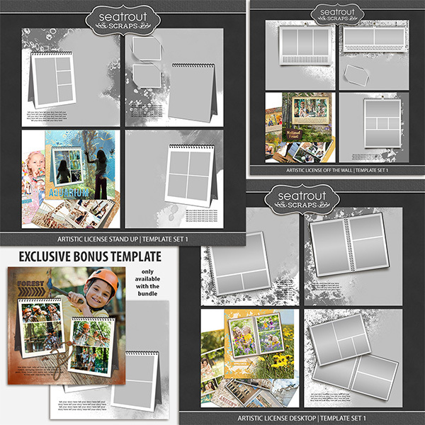 Artistic License Memento Bonus Bundle 12x12 Digital Art - Digital Scrapbooking Kits