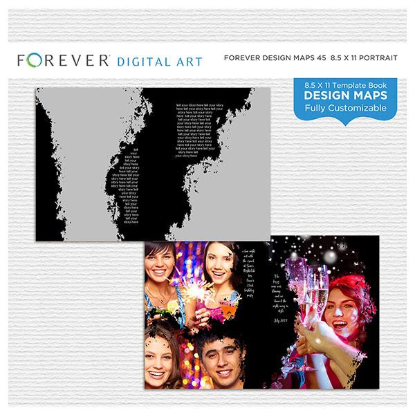 Forever Design Maps 45 - 8.5x11 Digital Art - Digital Scrapbooking Kits