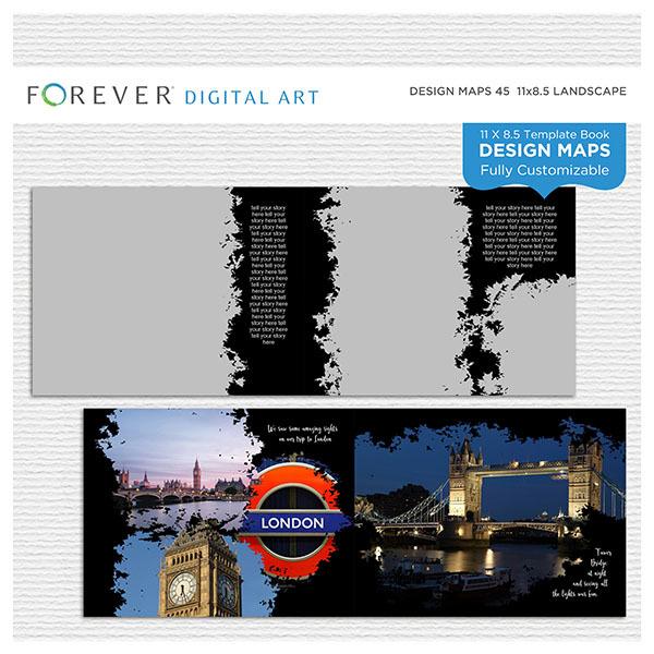 Forever Design Maps 45 - 11x8.5 Digital Art - Digital Scrapbooking Kits